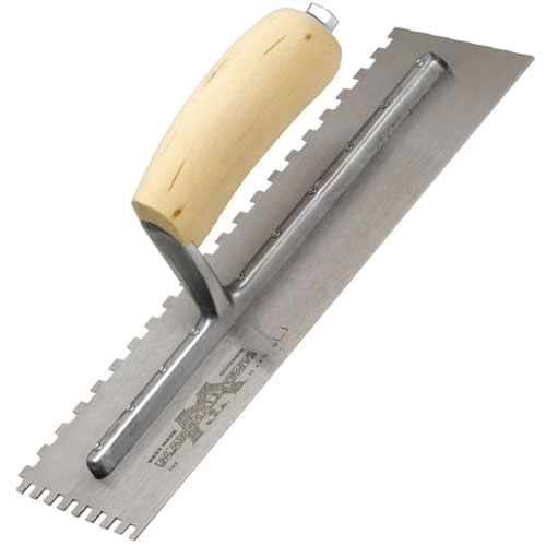 Marshalltown M702S Notched Trowel 11inch X 4.1/2inch Notch Size 6mm X 6mm Shaped Wooden Handle