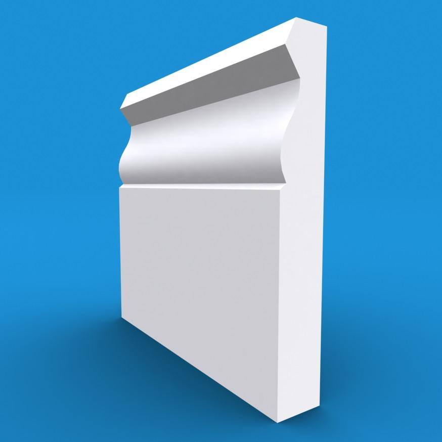 Large Ogee MDF White Primed Skirting Board 4200mm x 120mm x 18mm