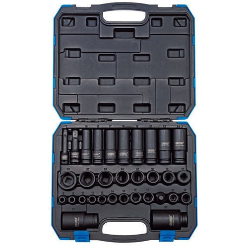 Draper 83098 3/8inch And 1/2inch Sq. Dr. Impact Socket Set (32 Piece)