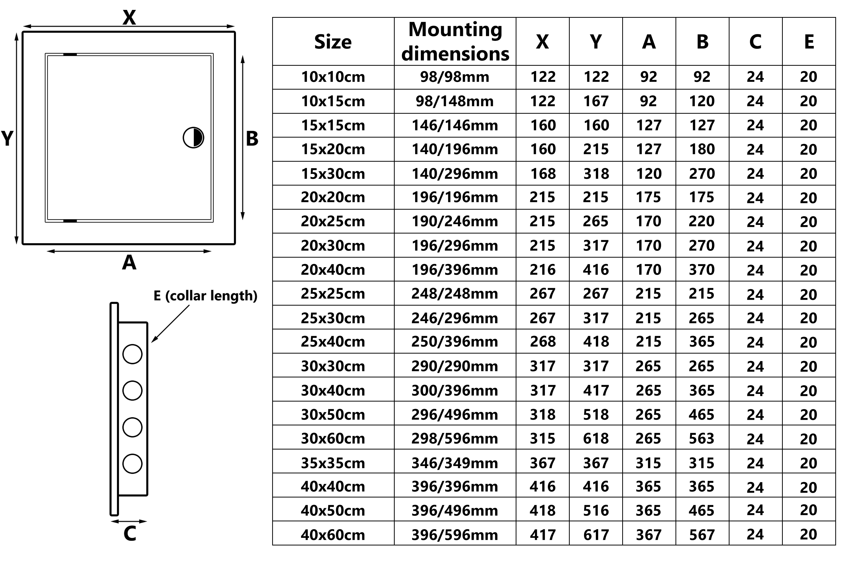 350x350mm Access Panels Inspection Hatch Access Door High Quality ABS Plastic