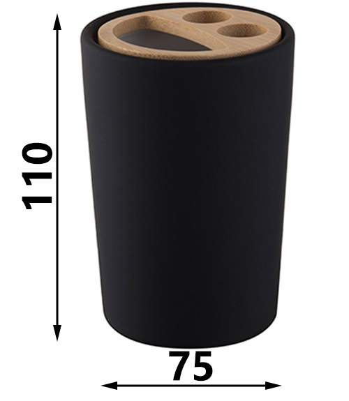Free Standing Toothmug Toothbrush Cup Bathroom Black Stoneware with Compartments