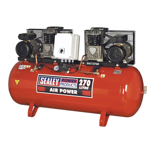 Sealey SAC1276B 270ltr Belt Drive Compressor 2 X 3hp With Cast Cylinders