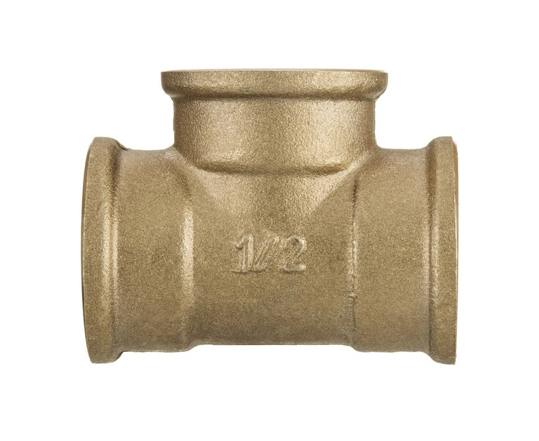 1 Inch Tee Pipe Fittings Female Connection Cast Iron Brass