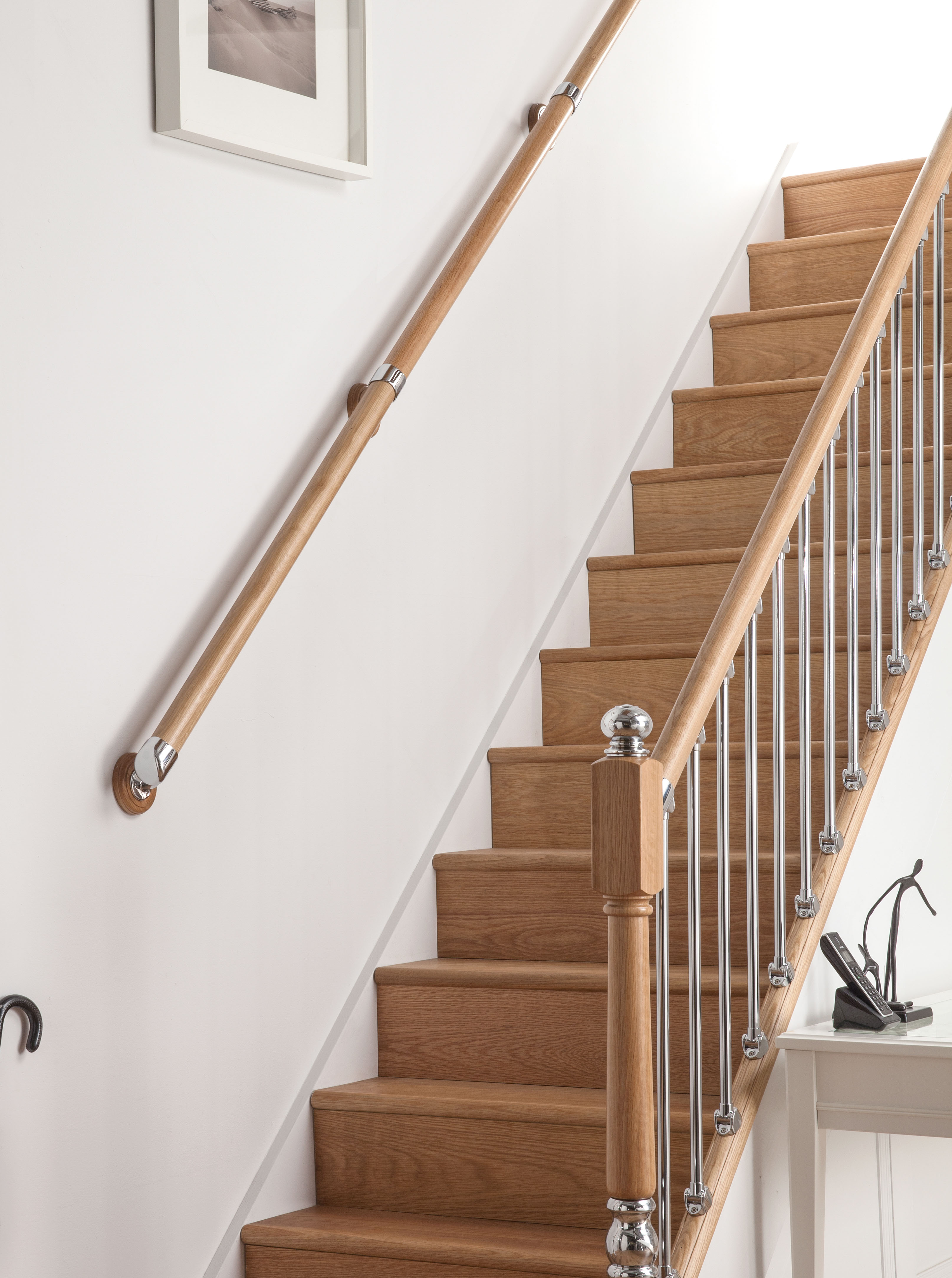 AXXYS Wall Mounted Handrail Kit 4000mm Select Timber and Metal Finish