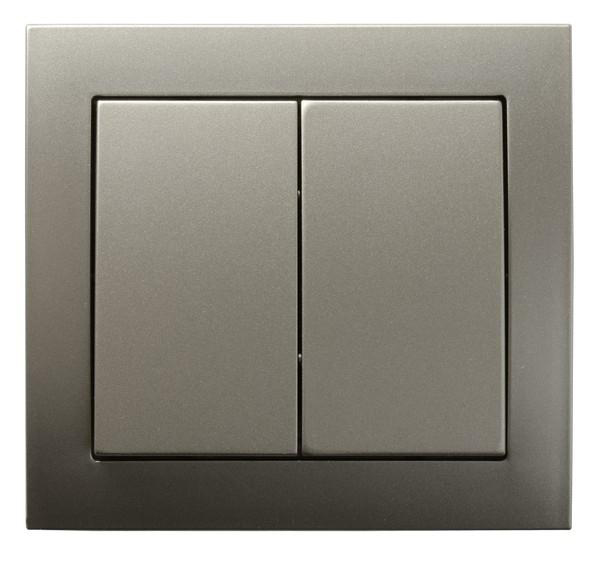 Light Satin Double Button Indoor Light Switch Click Wall Plate