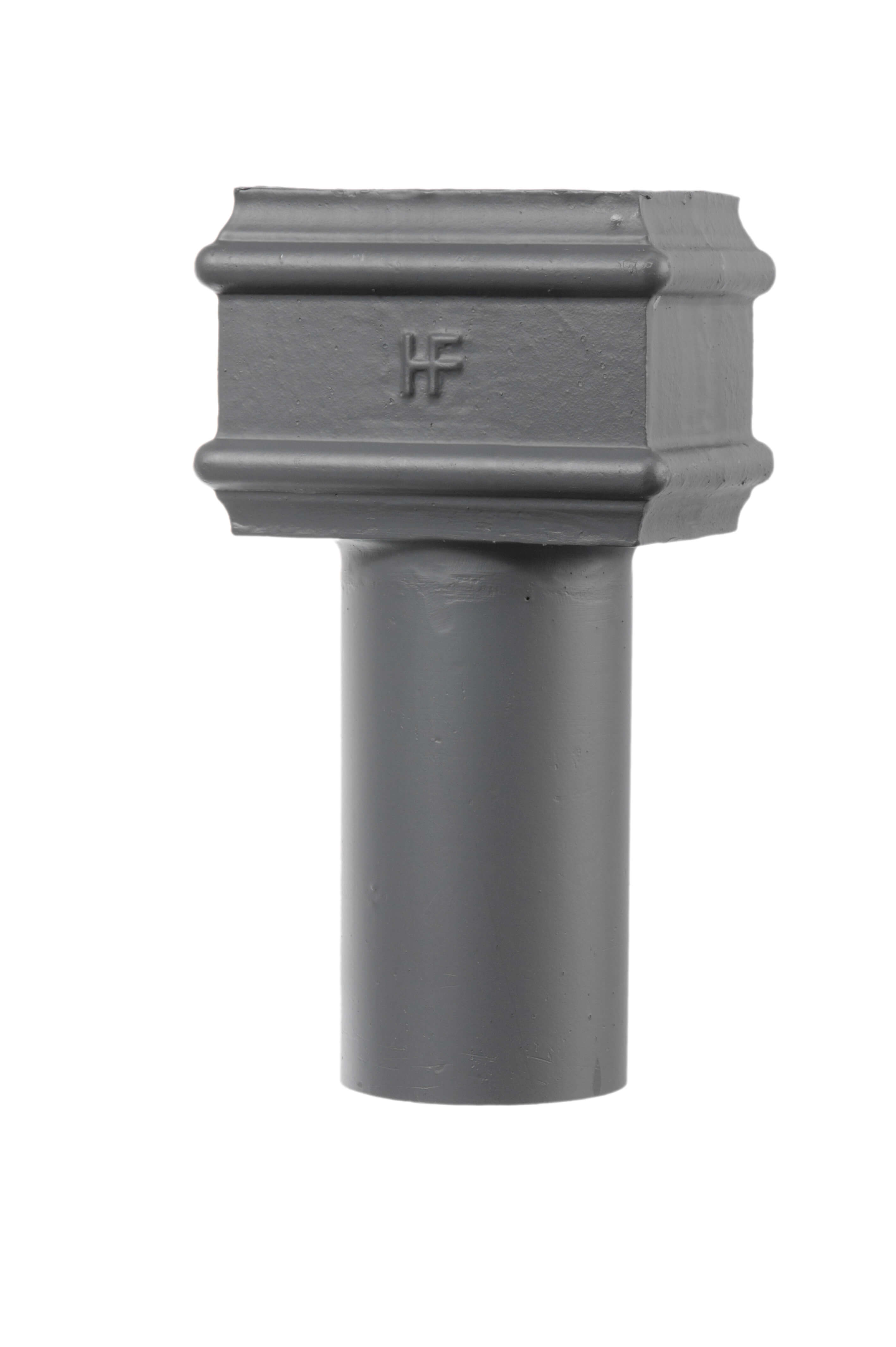 Cast Iron Rectangular Downpipe Square to Round Connector - 100mm x 75mm Primed
