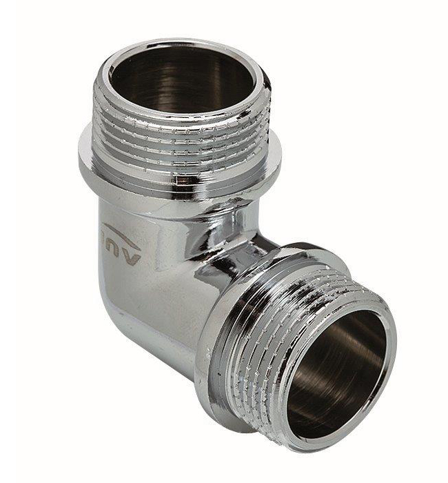 3/8 Inch Male Elbow Pipe Fitting Connection Chrome Plated Brass