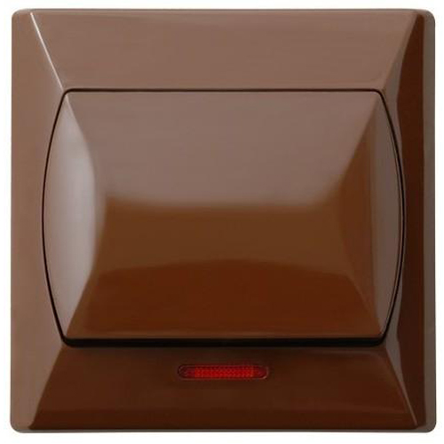 Simple Big Button Basic Indoor Light Switch Click Wall Plate Brown with Light