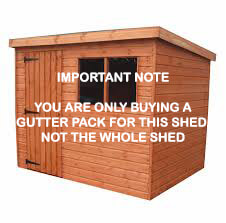 Mini Gutter Shed Pack Pent Style Roof - 8 x 6 White