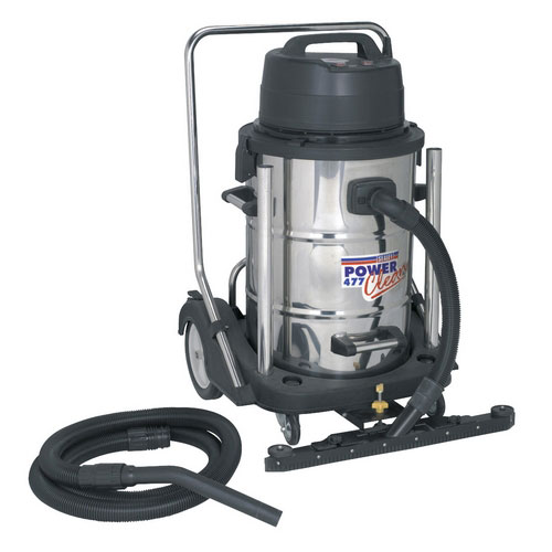 Sealey PC477 77ltr Industrial Wet & Dry Vacuum Cleaner Stainless Drum 2400W Swivel Bin Empty