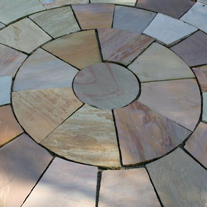 Rippon Buff/Grey/Pink Indian Sandstone Paving Circle Pack With Squaring Off Kit 2.7m
