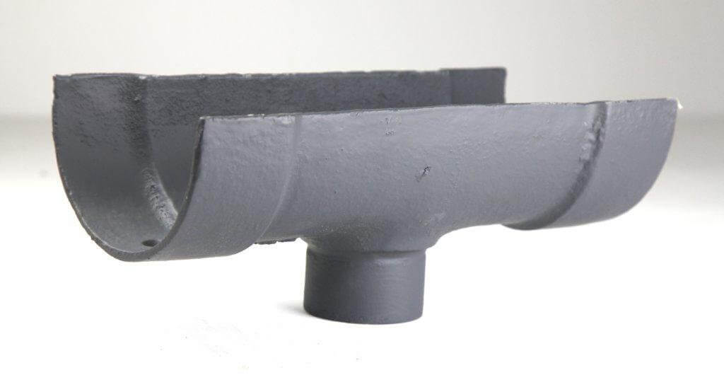 Cast Iron Deep Half Round Gutter Running Outlet - 125mm for 75mm Downpipe Primed