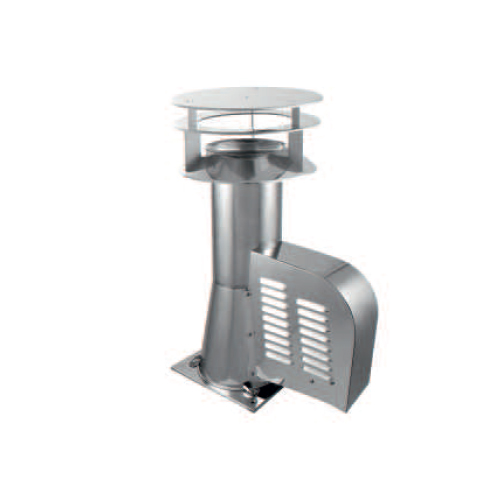 200mm Draught Generator Square With Additional Rain Cap Base Stainless Steel Rotowent