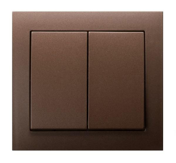 Metallic Brown Double Button Indoor Light Switch Click Wall Plate