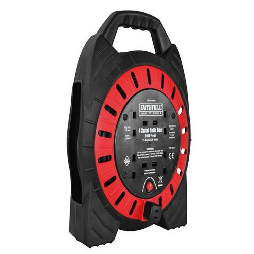 Faithfull Power Plus FPPCR10MSE Semi Enclosed CableReel 240V 10m 13A 4G