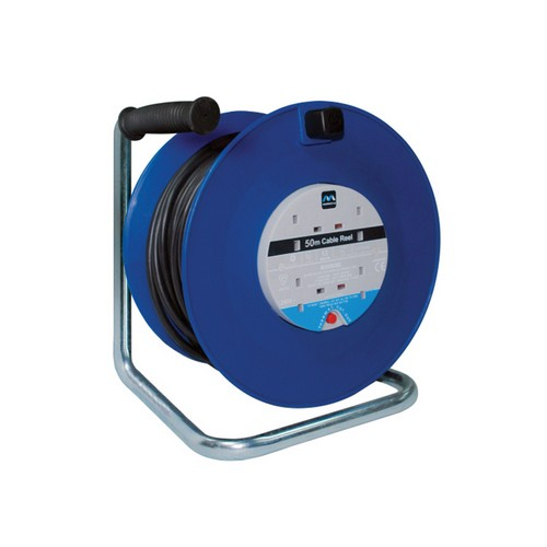 Masterplug HDCT5013/4R Heavy-Duty Cable Reel 50 Metre 4 Socket 13A Thermal Cut-Out 240 Volt