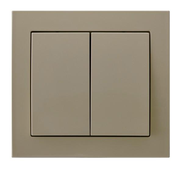 Beige Double Button Indoor Light Switch Click Wall Plate
