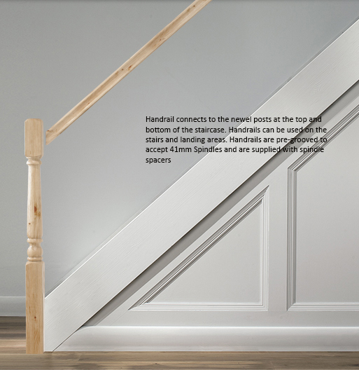 41mm HDR Profile Heavy Hand Rail Select Length and Timber