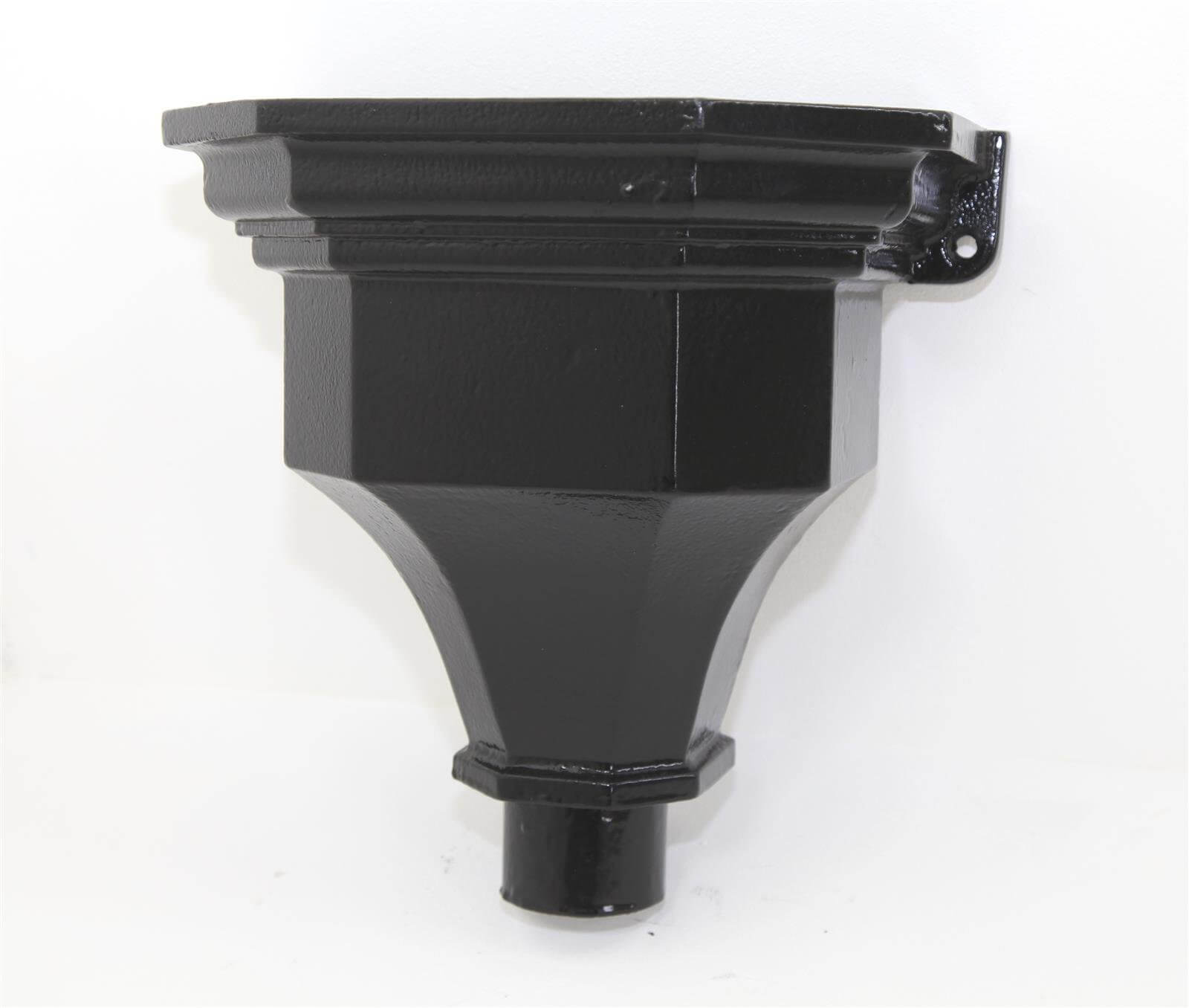 Cast Iron Round Downpipe Hopper Head Fluted Flanged Outlet - 75mm Black