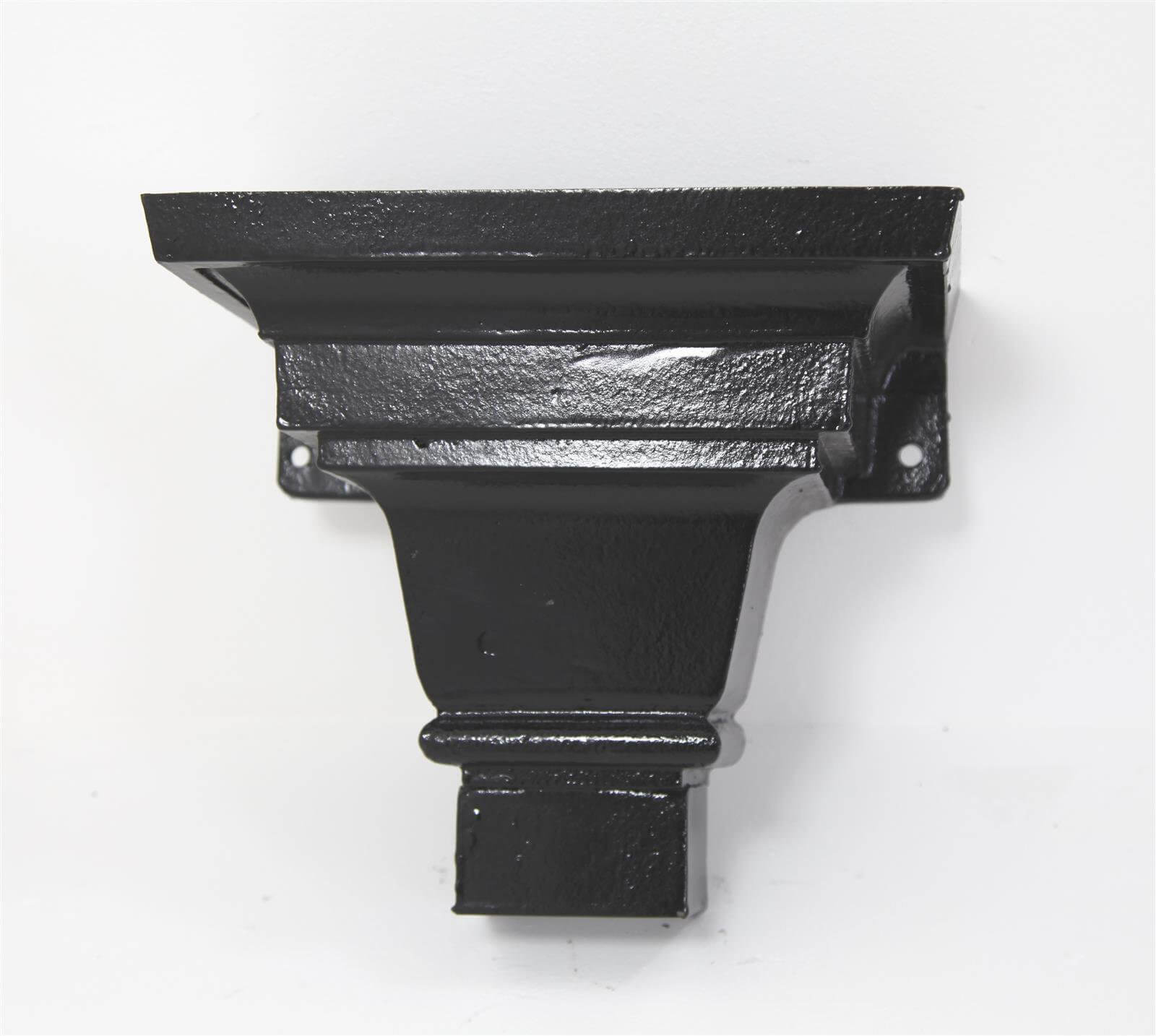 Cast Iron Round Downpipe Hopper Head Traditional Shallow Flanged Outlet - 65mm Black