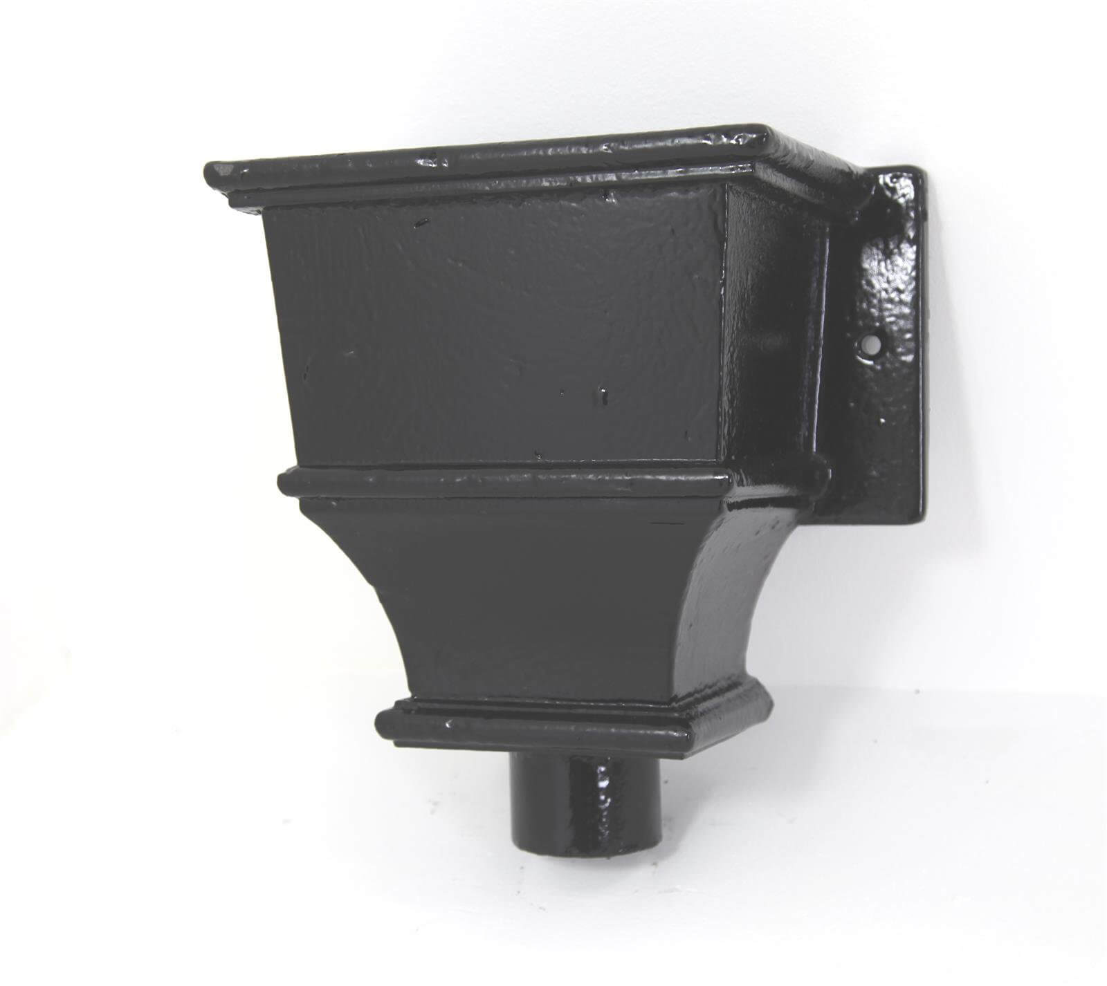 Cast Iron Round Downpipe Hopper Head Traditional Deep Flanged Outlet - 65mm Black