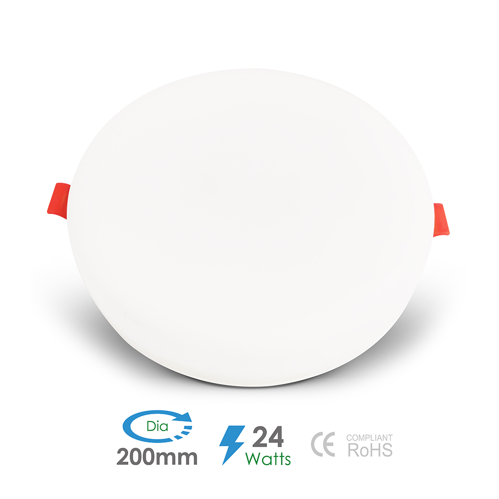 24W Frameless Recessed-Surface Super LED Panel, 200mm, Round, 6000K (pack of 4)