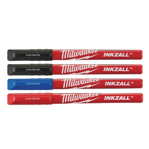 Milwaukee Hand Tools 48223165 INKZALL Ultra Fine Tip Pen Assorted Colours (Pack 4)