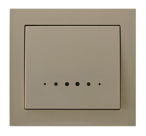 Beige with Light Single Button Indoor Light Switch Click Wall Plate