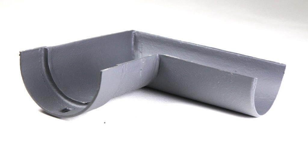 Cast Iron Deep Half Round Gutter Right Hand Angle - 90 Degree x 125mm Primed