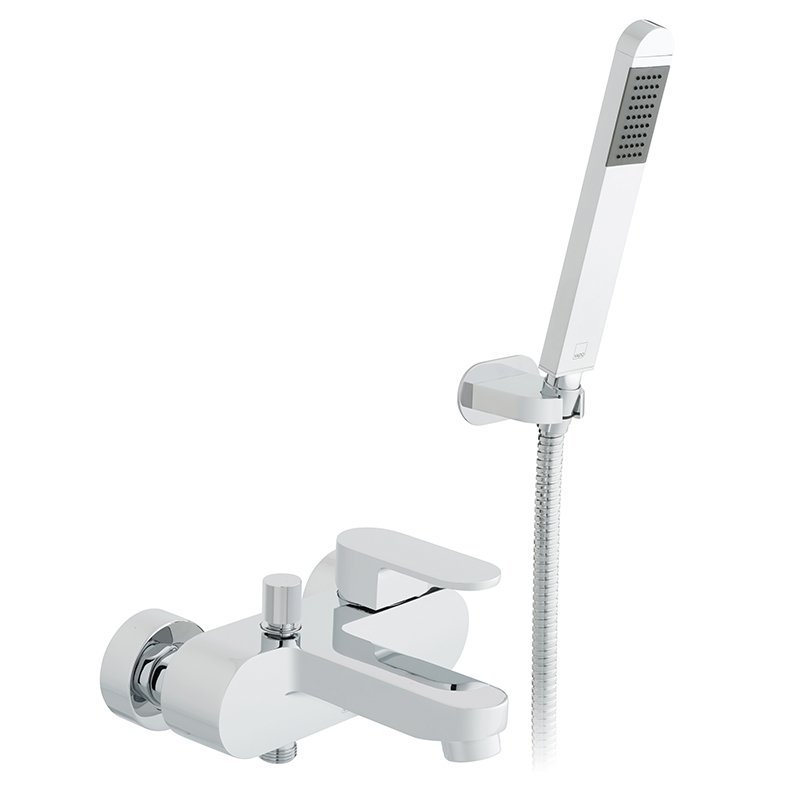 Vado Life Exposed Bath Shower Mixer Single Lever Wall Mounted With