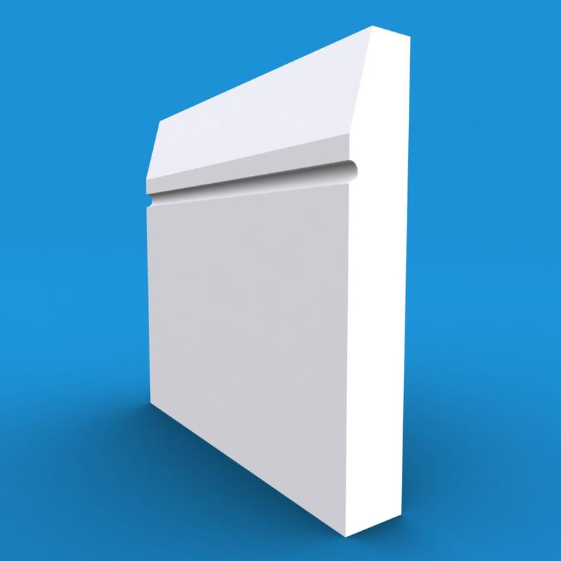 Chamfered Square C Grooved MDF White Primed Architrave 4200mm x 95mm x 18mm