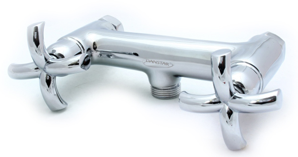 Classic Cross Head Solid Bathroom Shower Mixer Tap Wall Mounted + Tap Head