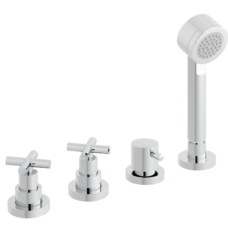 Vado Elements Water 4 Hole Bath Shower Mixer Deck Mounted Without