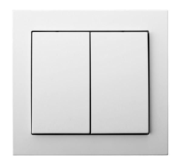 White Double Button Indoor Light Switch Click Wall Plate
