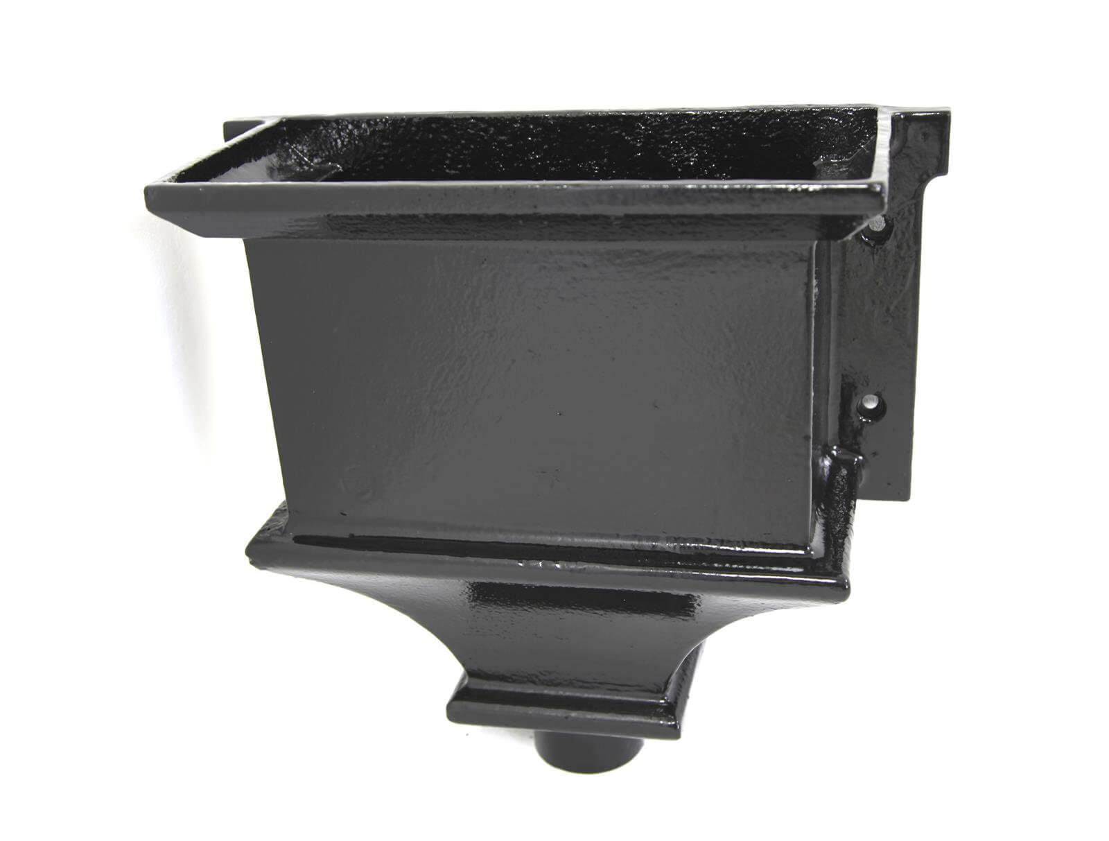 Cast Iron Round Downpipe Hopper Head Traditional Flanged Outlet - 65mm Black