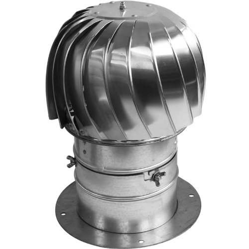 Chimney Flue Cowl Spinner Stainless Steel Plug-in Spinning Cowl 150mm Diameter With Extra Collar