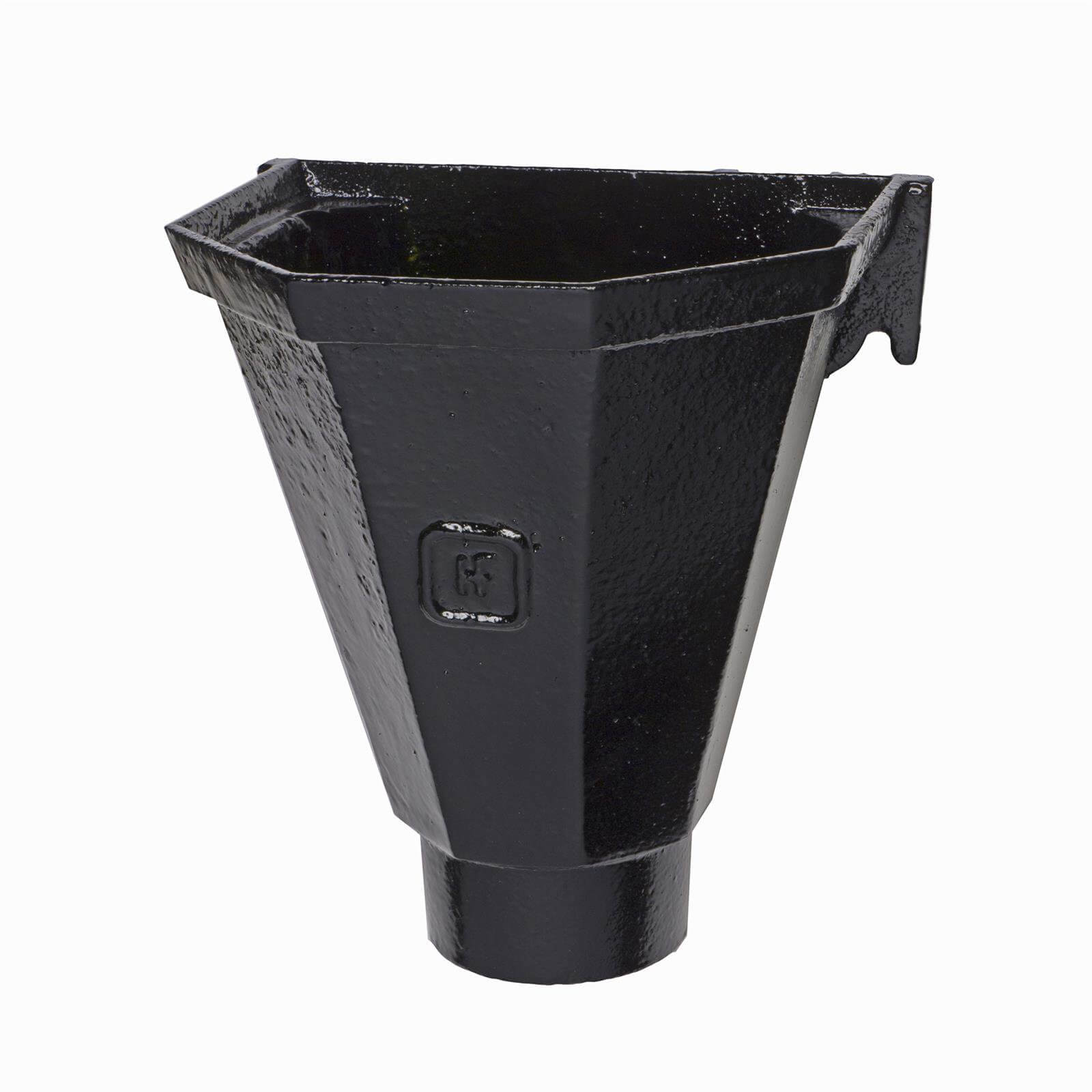 Cast Iron Round Downpipe Hopper Head Flat Back Outlet - 65mm Black