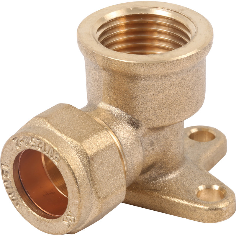 Compression Elbow Wall Plate - 15mm x 1/2andquot;