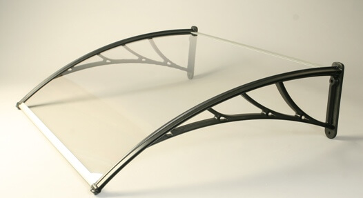Tornillo Canopy With Opal 5mm Twinwall Polycarbonate Glazing - 1200mm x 1000mm Black