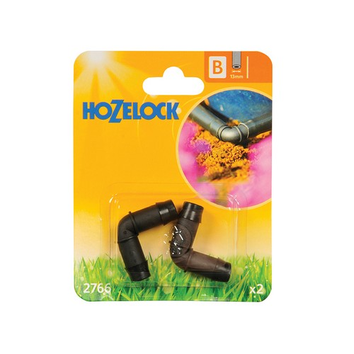 Hozelock 2766 Elbow Connector 90 Degree 13mm (2 Pack)