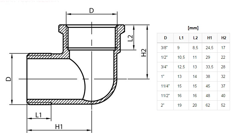 3/4 Inch Elbow Pipe Fittings Connection Male x Female Iron Cast Brass