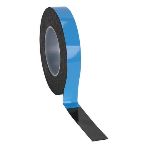 Sealey DSTB2510 Double-Sided Adhesive Foam Tape 25mm X 10 Metre Blue Backing
