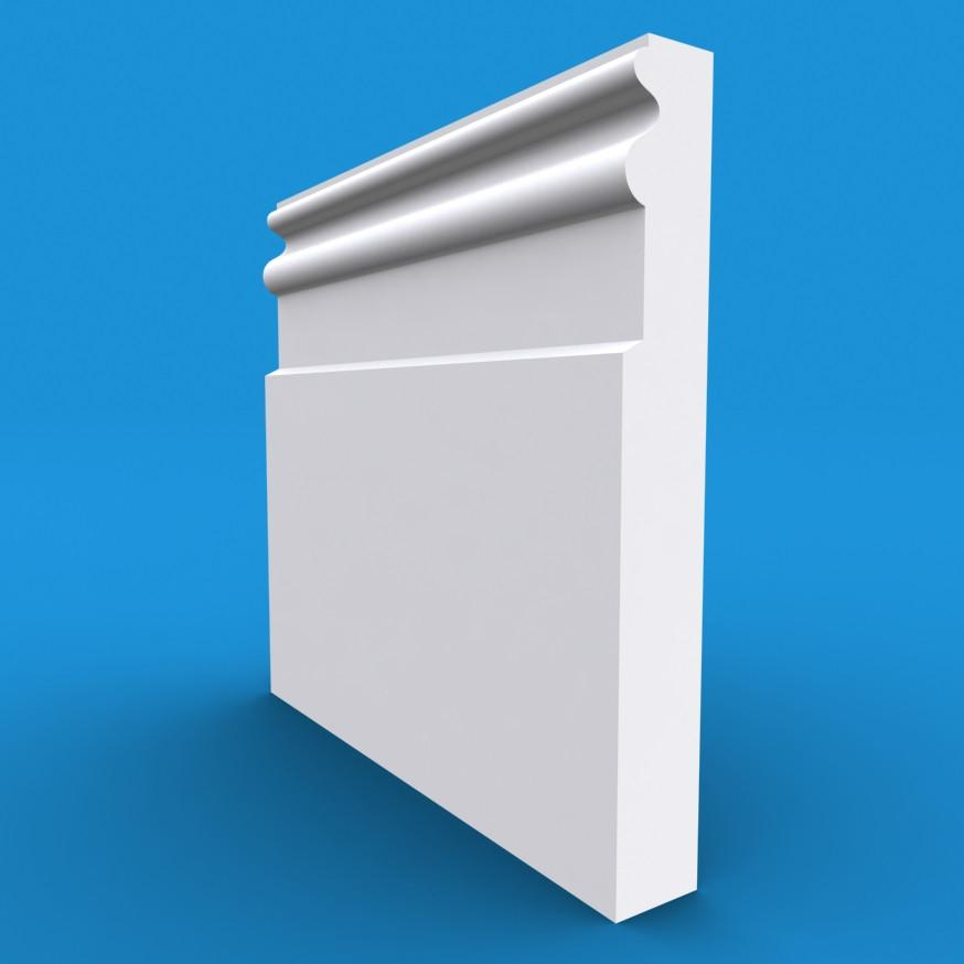 Queens MDF White Primed Skirting Board 4200mm x 195mm x 18mm