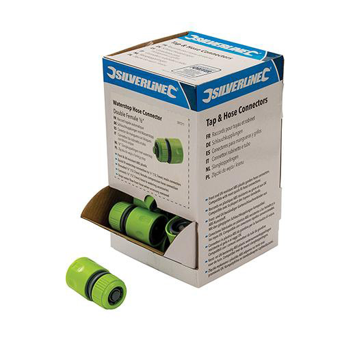 Silverline 597211 Waterstop Hose Connectors 1/2inch Display Box 30pce Double Female