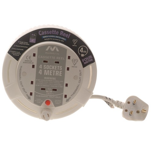 Masterplug SCT0413/R-MS Cassette Cable Reel 4 Metre 4 Socket Thermal Cut-Out White 13A 240 Volt