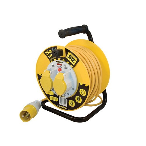Masterplug LVCT2516/2-MP Cable Reel 25 Metre 16A 110 Volt Thermal Cut-Out