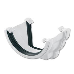 PVC Half Round to PVC Ogee Left Hand Gutter Adaptor - White