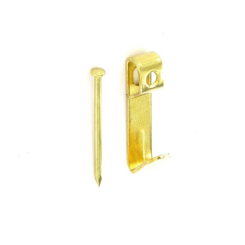 Securit S6201 Single Picture Hook Electro Brassed + Pins No 1 Pack Of 4