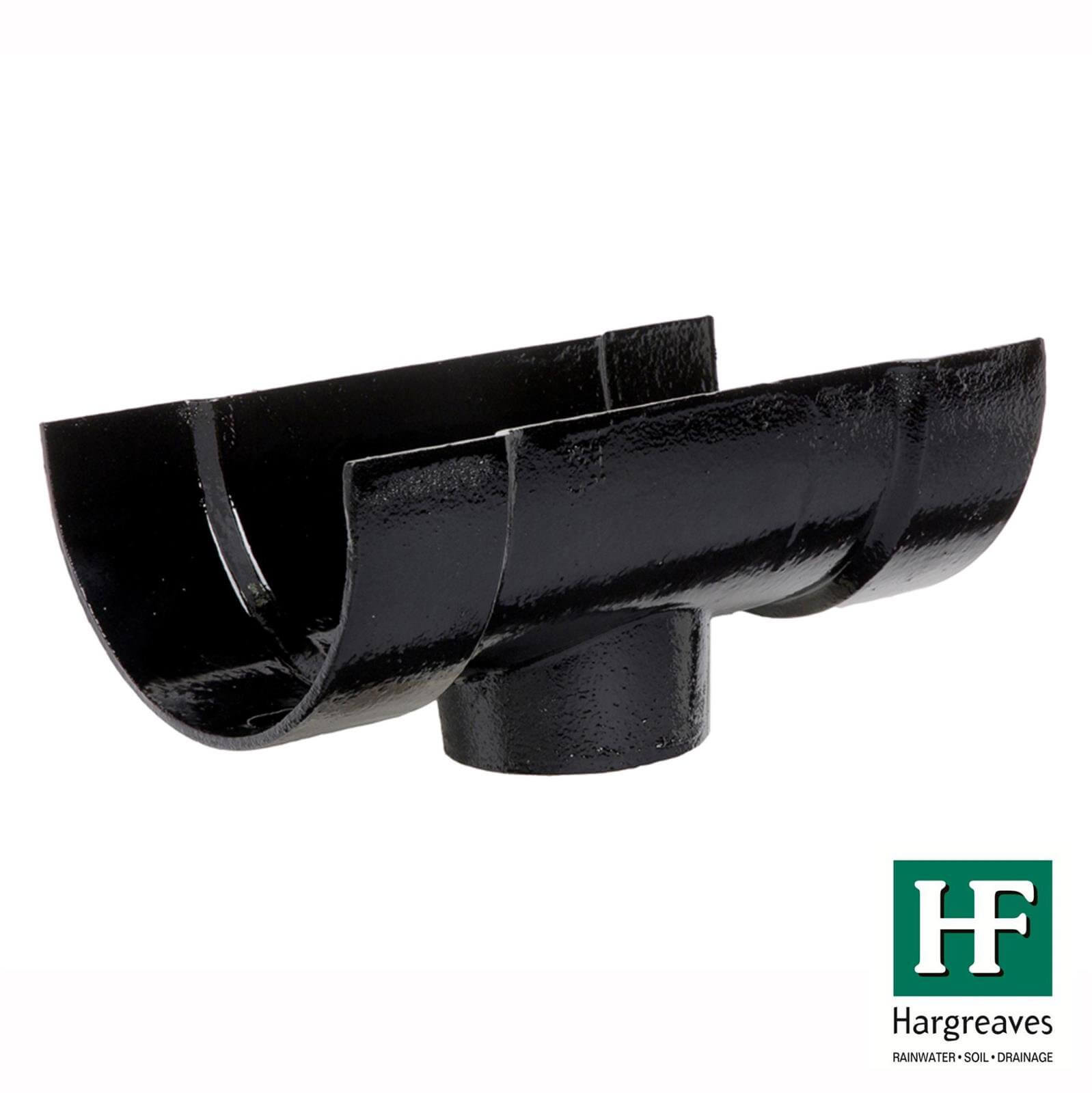 Cast Iron Deep Half Round Gutter Running Outlet - 100mm for 65mm Downpipe Black