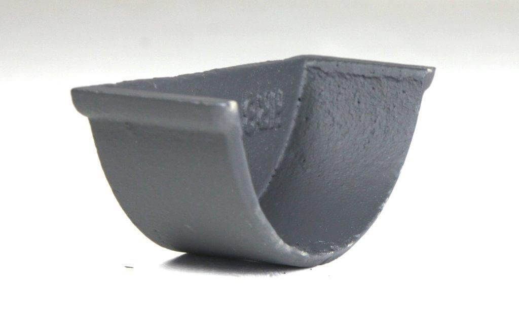 Cast Iron Beaded Half Round Gutter Internal Stopend - 115mm Primed